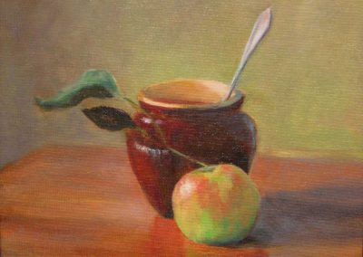 Still Life with Brown Crock and Apple