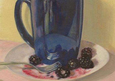 Blue Mug with Blackberries