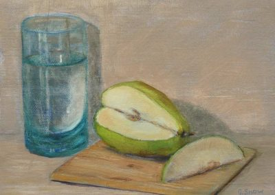 Green Glass with Pear